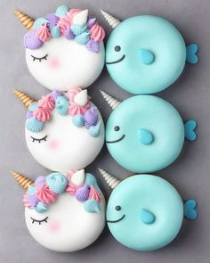 Unicorn and Narwhal Macarons