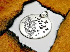 Can Personalize, Women's Jewelry, Floral Ornaments, Butterfly Jewelry, Circle Necklace, Hand Engraved, Sterling Silver 925, Smooth Polished by CustomHandEngraved on Etsy