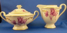 Royal Tettau Konigl pr Tettau Creamer & Covered Sugar - Purple Flowers -Germany #KoniglprTettau #RoyalTettauKoniglprTettau