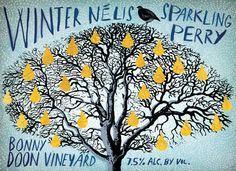 Winter Nélis Sparkling Perry | Label Art by Grady McFerrin | Most elegant, classic, traditional, bottle-finished perry with a subtle, spicy pear aroma; exceptionally refreshing. #bonnydoonvineyard #wine #DEWN #perry #sparkling