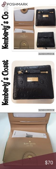"🆕🛍KATE SPADE🛍 wallet Kate Spade Serenade Valencia Road wallet.  Black with gold tone hardware.  Zip coin exterior pocket.  4 credit card slip pockets and one clear ID pocket inside.  Black leather exterior with bow accent and camel color interior.  Bill pocket is lined in Kate Spade fabric.  Measures 4"" x 3.5"" when snapped closed.  Very cute wallet!  Brand new with tags. kate spade Bags Wallets"