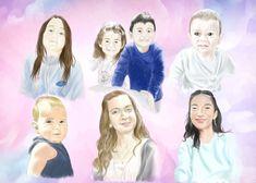 Ritratto multiplo su commissione, disegno e colore digitale