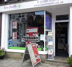 Bare Health, Health Store and Holistic Treatment Centre, located in Congleton, Cheshire. An Independent Healthy Living Store, supplying whole foods, supplements & herbal remedies, Natural & organic body care, Sports nutrition, Eco-household cleaning products, Homeopathic remedies & Flower essences and lots more besides!