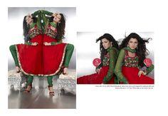 $79.30 Red Full Sleeve Faux Georgette and Net Long Anarkali Salwar Kameez 20509