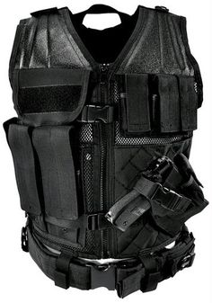 NcStar Tactical Vest Black Large   Constructed of Tough PVC    Larger size for 2X and Fitting over Winter Clothing or Body Armor   4 Pistol Magazine Pouches, 3 Rifle Magazine Pouches, 1 Utility Pouch, and a Fully-adjustable Cross Draw Pistol Holster, Front Zipper, 2 Buckles and Adjustable Shoulders with 3 Adjustment Straps on Each Side to Ensure a Secure Custom Fit   Hydration System Compatible    Includes Heavy Duty Pistol Belt Attaches Securely to Vest to keep Everything in Place. $45.58