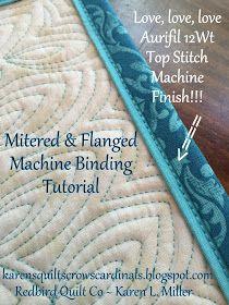 Sewing Techniques Karen's Quilts, Crows and Cardinals: Tutorial - Mitered and Flanged Machine Binding Quilting Tips, Quilting Tutorials, Machine Quilting, Quilting Designs, Sewing Tutorials, Beginner Quilting, Machine Binding A Quilt, Techniques Couture, Sewing Techniques