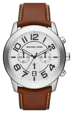 Michael Kors 'Mercer' Large Chronograph Leather Strap Watch