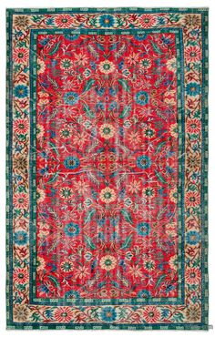 """For a contemporary look with a vintage appeal, we source rugs in excellent condition and carefully trim the piles to achieve an eye-catching """"distressed"""" look. Woven with wool on cotton, this fine rug measures 6' x 9'7'' (184 cm x 292 cm). In addition to being unique and hand-made, these rugs make a very special statement about bridging generations of artisanal skill and knowledge over time with a charming look that complements any modern or bohemian décor. Check out our article Get The """"Li…"""