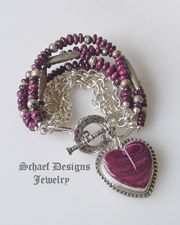 Schaef Designs purple spiny oyster shell and sterling silver 7 strand bracelet with Southwestern oyster shell heart charm by David Troutman Strand Bracelet, Heart Bracelet, Turquoise Jewelry, Silver Jewelry, Vintage Cowgirl, Southwestern Jewelry, Heart Art, Native American Jewelry, Native Americans