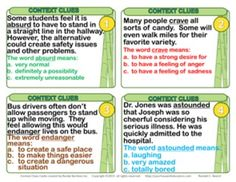 """(free) 40 engaging """"Context Clues"""" task cards in large print, ideal for the overhead projector as well as cut out for rings. These cards work great with my free educational game board. I also have several original songs on reading skills, (figurative language, context clues, theme, main idea, prediction) at http://yourhouseofeducation.com (click on Reading Songs)."""