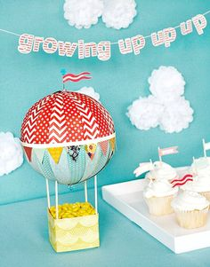 """Fancy - Hot air balloon party decor...love the """"growing up up up"""" quote"""