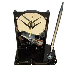 Geek Gift Hard Drive Clock With Mirrored Disk Platter As