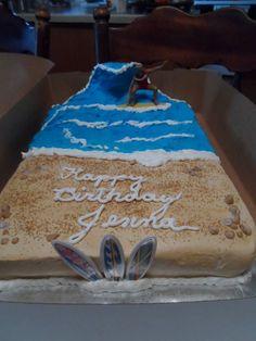 Surfing birthday cake