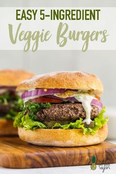 Easy Veggie Burgers – Sweet Simple Vegan Easy and delicious veggie burgers crafted with just 5 simple ingredients. They're effortless to prepare and are ready in only 30 minutes. Let's get cookin'! Vegan Dinner Recipes, Vegan Dinners, Vegan Recipes Easy, Veggie Recipes, Whole Food Recipes, Vegetarian Recipes, Simple Veggie Burger Recipe, Vegetarian Barbecue, Hamburger Recipes