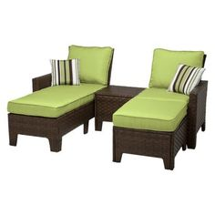 Garden treasures 5 piece south point brown steel patio for Belmont black wicker patio chaise lounge