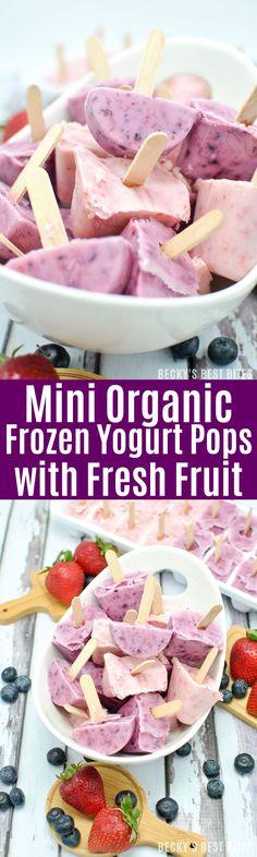 Mini Organic Frozen Yogurt Pops with Fresh Fruit is an easy healthy summer kid-friendly snack made with Annie's Organic Whole Milk Yogurt and organic fruit.   beckysbestbites.com