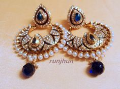 stone and pearls polki earrings blue-Jewellery-Runjhun Designer Jewellery and Tanjore Craft