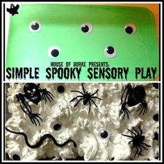 Simple Spooky Sensory Play - two fun Halloween themed messy play sensory bins for your little ones - House of Burke