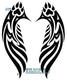Tattoos: Tattoos & Tribal & pawprint_tribal_wings_tattoo_by . Native Tattoos, Wolf Tattoos, Feather Tattoos, Animal Tattoos, Body Art Tattoos, Tatoos, Paw Tattoos, Free Tattoo Designs, Tribal Tattoo Designs