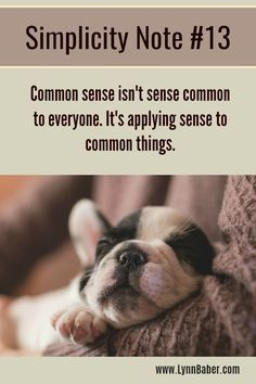 Simplicity Note #13 – Common Sense   Lynn Baber