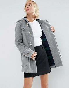ASOS+Wool+Blend+Duffle+Coat+with+Checked+Liner
