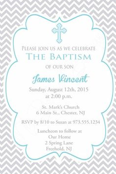 Chevron Baptism Invite Boys Baptism Invitation by MyBellasBowtique