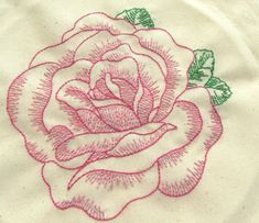 Rose stitched from a vintage embroidery transfer --- Bugs and Fishes by Lupin: Vintage Flowers... In Progress!