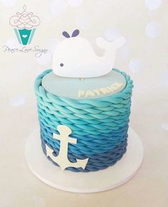 Boys first birthday whale with waves cake So cute Levis first