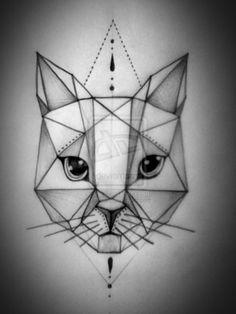 Znalezione obrazy dla zapytania cat geometric tattoo dotwork color