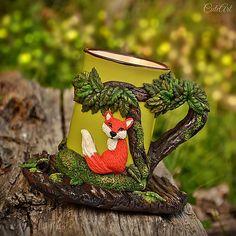 Čaj v lese II. -polymérová hmota, akryl, kamenina