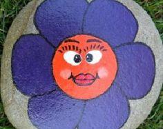 Rock Hand Painted Purple and Orange Flower Paperweight Doorstop Art Garden Decor