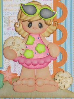 Beach Girl (Scrapbook Paper Piecings)