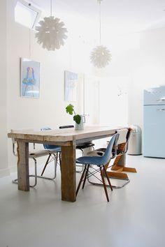 photos by Holly Marder via Decor8   Fiberglass Shell Chairs with Dowel Bases   http://modernica.net/dowel-side-shell.html