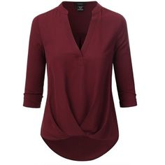 Doublju Womens 3/4 Sleeve High-Low Popover Blouse Top ($27) ❤ liked on Polyvore featuring tops, blouses, 3/4 sleeve blouse, three quarter sleeve tops, red top, three quarter sleeve blouses and 3/4 sleeve tops - chiffon blouses and tops, nice blouses, black work blouse *ad