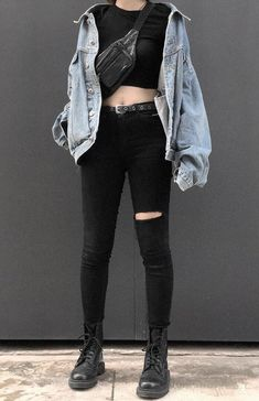 Denim jacket with black croptop, fanny pack, black pants & combat boots by 792td___ - #grunge #alternative #fashion