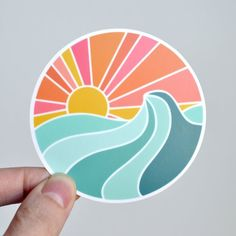 Ocean Sunset Vinyl Sticker - Laptop Sticker - Water Bottle Sticker - ST-007