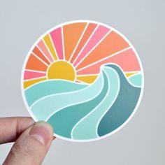 Ocean Sunset Vinyl Sticker - Laptop Sticker - Water Bottle Sticker - ST-007