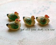 Vintage toy celluloid miniature ducks
