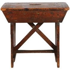 Primitive Pine Stool / Small Bench | 1stdibs.com