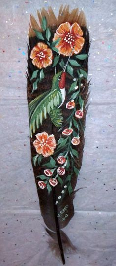 painted feather by Veronica Regan of Wildlife Collectibles