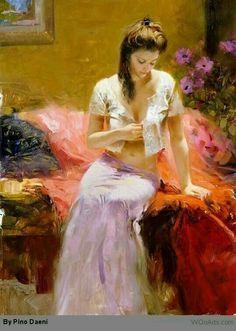 BeautifuL PaintingS Pino Daeni - Italian artist - Page 2 Romantic Woman, Beauty In Art, Amazing Paintings, Impressionist Paintings, Oil Paintings, Painted Ladies, Italian Artist, Woman Painting, Sexy Painting