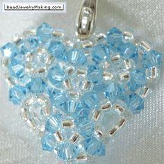 Beaded Blue Crystal Heart