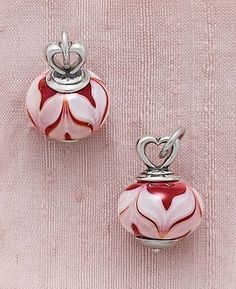 New Avery Art Glass Charm ~ Heart Finial with Red Swirls Charm from James Avery Jewelry
