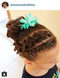 Dutch braid and pull through braid to messy bun Childrens Hairstyles, Lil Girl Hairstyles, Easy Hairstyles For Kids, Dance Hairstyles, Braided Hairstyles, School Hairstyles, Braided Ponytail, Updo Hairstyle, Everyday Hairstyles