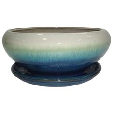 Garden Treasures X Teal Cream Ceramic Low Bowl Planter