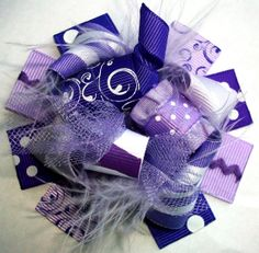 Purple Hair Bows - Funky Loopy Fabulously Fun Sassy Purples MINI Boutique Hair Bow