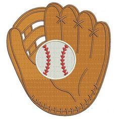 Baseball Mitt (Glove) with a ball Machine Embroidery Digitized Filled Design Pattern - Instant Download - 4x4 , 5x7, 6x10 #Baseball #embdoidery #appliques #mitt