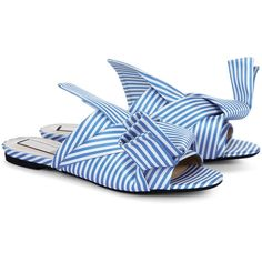 No21 Blue & White Stripe Satin Bow Slides ($490) ❤ liked on Polyvore featuring shoes, strappy flats, open toe flats, strappy sandals, bow sandals and flat shoes