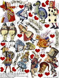 Artfully Musing: Alice in Wonderland Tarot Cards, Wonderland Scene, New Collage Sheets and Digital Image Set