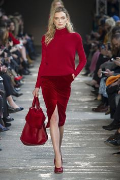 Red is my fave color and I love this skirt line and high heels together. Length of skirt is perfect.